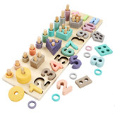Wooden Geometric Board Blocks Puzzles Number-Shape Matching Educational Toy for Kids