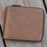 Men Vintage Coin Bag Large Capacity Genuine Leather Wallet