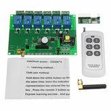 ワイヤレスRFリモートコントロールスイッチ付き6チャンネルDIYレシーバーリレーモジュールボード110V-240VAC