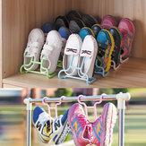 2PCS /セット多機能プラスチック子供子供靴ハンギングストレージシェルフ乾燥ラックシューズラックスタンドハンガーワードローブオーガナイザー