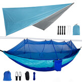 260x140cm Double Person Camping Hammock with Mosquito Net + 300x260cm Awning Outdoor Camping Travel Max Load 300kg