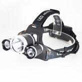 XANES® 3 LED's T6 + 2 * Q5 LED-koplamp 4 standen Fietsen Koplamp Outdoor Lantaarn Licht USB Oplaadbare zaklamp voor jagen Vissen