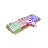 Glowing 104 Keys Keyboard and Mouse Set V1 Wired RGB Mechanical Feeling Keyboard 2400DPI Mouse Combo Set for Game Office Notebook