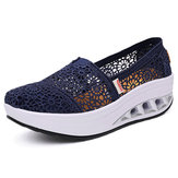 Hollow Out Lace Rocker Sole Slip On Casual Ronda Toe Health Shoes