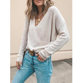 Women V-Neck Solid Color Long Sleeve Loose Knitted Sweaters