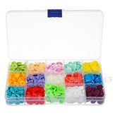 15 Colors 150Pcs Plastic Resin Fastener Snap Heart Buttons DIY Cloth Craft Kit With Storage Case