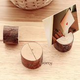 1Pcs Wooden Base Rustic Wedding Table Number Place Name MEMO Card Stand Holder