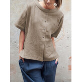 Vintage Round Neck Short Sleeve Button Cotton Blouse