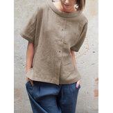 Blusa de algodão de manga curta gola redonda vintage