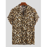 Mens Summer Loose Fashion Handsome Leopard Printing Shirts