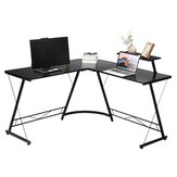 L-Shape Corner Desk Computer Lpatop Gaming Desk Table Modern Sturdy Table with Removable Shelf for Office Home Bedroom