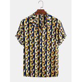 Mens Cotton Abstract 3D Geometric Print Casual Short Sleeve Shirt