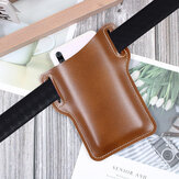 Bakeey Men Vintage Casual Genuine Leather Bag Waist Bag Pouch Leather Belt Bag Purse Under For 6.3 inch Phone