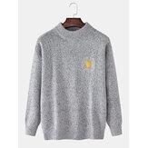 Suéter masculino de tricô de manga comprida com gráficos de símbolo meteorológico