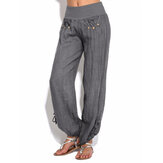 Women Casual High Waist Pure Color Button Yoga Harem Pants