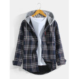 Mens Plaid Hooded Pocket Button Up Long Sleeve Warm Linning Vintage Shirts