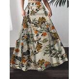 Mulheres 100% Algodão Planta Estampa floral Bohemia Maxi Saias de cintura alta