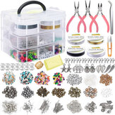 1171 Pcs Membuat Perhiasan Alat Beads DIY Gelang Anting Aksesoris w / 3 Layers Kotak Perhiasan