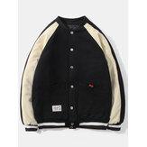 Мужская повседневная университетская куртка из толстого хлопка с контрастным цветом и рукавами реглан