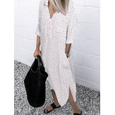 Polka Dot Print Casual Loose Long Shirts Kjole med lommer