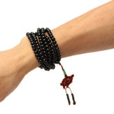 Trendy Black Sandalwood Buddhist Buddha Multilayer Beads Weaving Bracelet Necklace for Men