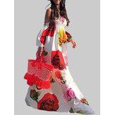 Kapalı Omuz Çiçek Baskılı Elastik Yaz Plaj Uzun Maxi Elbise