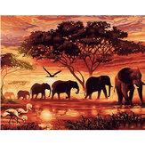 DIY Diamante Pintura Cenário Elefante Pintura De Parede Pendurado Fotos Decorações De Parede Feito A Mão Desenho De Presentes Para Crianças Adulto