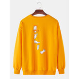 Funny Cat Print Round Neck Long Sleeve Casual Sweatshirts