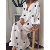 Plus Size Bohemian V-neck Polka Dots Women Maxi Dress