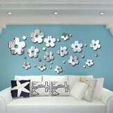 3D Plum Blossom Silver DIY Shape Miroir Stickers muraux Home Wall Bedroom Office Decor