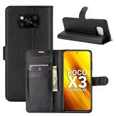 Bakeey için POCO X3 PRO/POCO X3 NFC Kılıf Litchi Desen Flip Darbeye Dayanıklı PU Deri Tam Vücut Koruyucu Kılıf