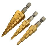 Drillpro 3Pcs 1/4 Inch Hex Shank HSS Titanium Coated Step Drill Bit Set 3-12/4-12/4-20mm