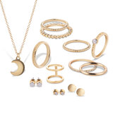 12 Pcs of Gold Silver Plated Rings Crystal Earrings Necklace Jewelry Set