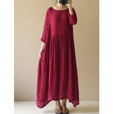 Women Vintage Long Sleeve Baggy Tunic Maxi Dress