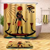 Su Geçirmez Mısır Tarzı Duş Perdeleri 12 adet Kanca Banyo Tuvalet Halı Mat Seti Ile