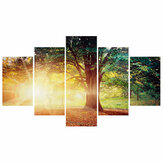 5 Pcs Wall Decorative Painting Tree in the Sun Art Pictures Canvas Prints Home Office Decorations Living Room Oil Paintings