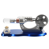 Blue Mini Hot Air Stirling Engine Motor Model Educatief speelgoedkit met LED-lampje