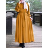 Women Elegant Puff Sleeve Elastic Cuff Lace-Up Kaftan Tunic Muslim Maxi Dress