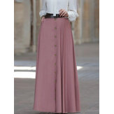 Women Solid Color Button Up High Waist Loose Long Skirts With Side Pockets