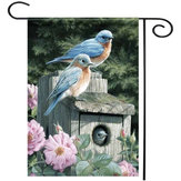 28''x40 '' Bluebirds Spring Season Welcome House Garden Flag Yard Banner Decorations
