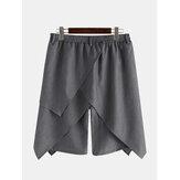 Mens Vintage bijgesneden effen kleur onregelmatige zoom elastische taille Fashion kuit lengte broek