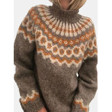 Women Jacquard Printed Casual High Neck Pullover Knitted Pullover Sweater
