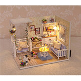 1:24 Wooden DIY Handmade Assemble Doll House Miniature Furniture Kit Education Toy with Dust Proof Cover LED Light for Collection Birthday Gift