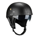 PU Leather Vintage Size Motorcycle Half Helmet With Sun Visor Detachable Collar