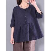 Vintage geruite knopen katoenen blouse