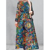 Kobiety Vintage Print Elastyczne mankiety Szlafrok z długim rękawem Maxi sukienki z paskiem