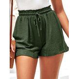 Frauen Sommer Elastic Waist Ruffle Casual Wild Shorts