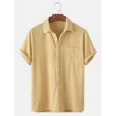 Banggood Design Thin Corduroy Solid Henley Collar Chest Pocket Short Sleeve Shirts