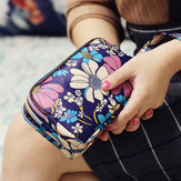 Impermeável Nylon Patchwork Three Zíper Phone Bolsa Flower Bolsa