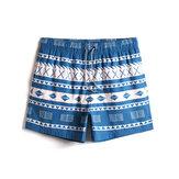 Mens Quick Drying Vintage Geo Print Drawstring Waist Beach Shorts